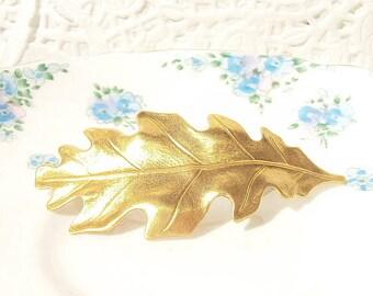 Gold Leaf Hair Barrette - Oak Leaf - Woodland Collection - Whimsical - Nature - Bridal