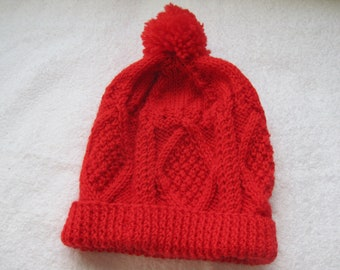 Irish Fisherman Aran Hat - Red