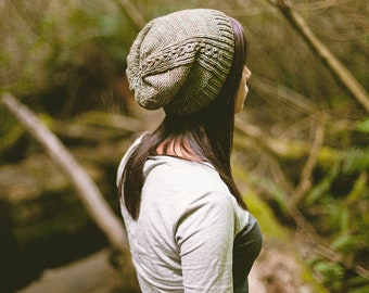 KNITTING PATTERN // Renfrew hat // eyelet mock-cable reverse stockinette stitch toque -- PDF