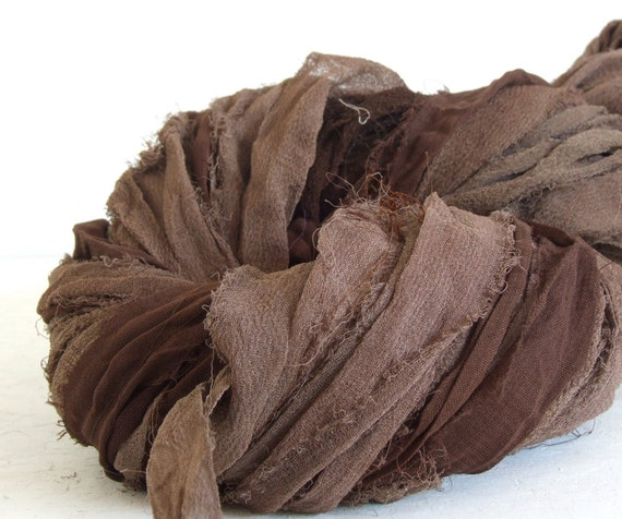Hand Dyed Recycled Silk Blend Chiffon Ribbon - Browns,  10 yds
