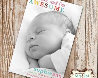 DIY Printable I'm Here Birth Announcement, Baby Shower, Birth Announcement, Photo Invitation....by Maxim Creative Invites
