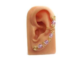 Ear Cuff Swarovski Crystal Light Blue