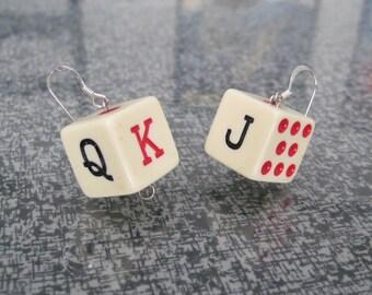 Handmade Retro Plastic Poker Dice Earrings 5/8 inch Gambling