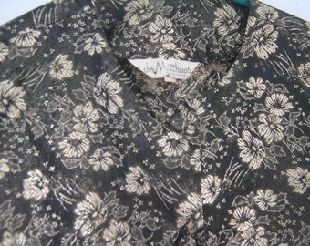 Vintage Blouse Jacket Brocade Black Gold