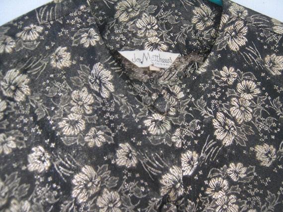 Vintage Blouse Jacket Brocade Black Gold