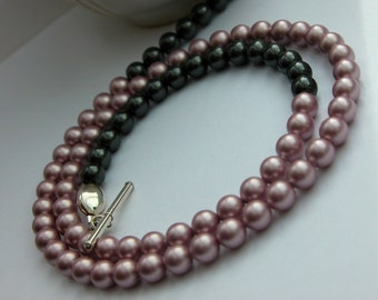 Grey and Pink long pearl necklace