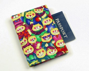 Cats Passport Cover, Travel Case, Travel Wallet with Velcro Closure
