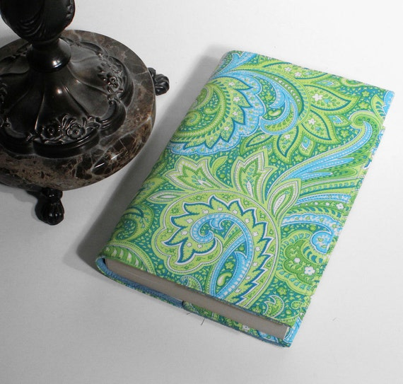 Large Paperback Book Cover - Trade Size Blue green Paisley Swirls