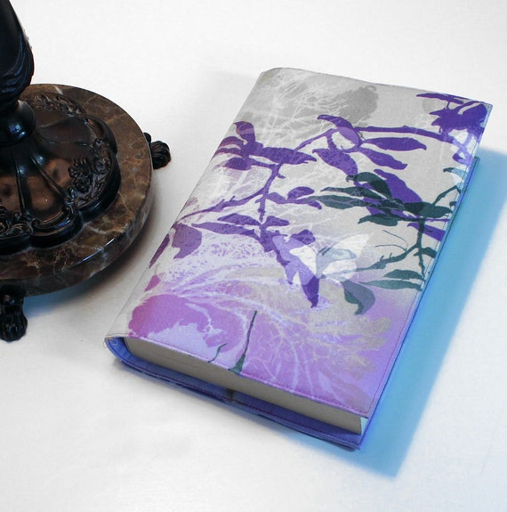 Large Paperback Book Cover - Oriental Vines Purple and Green Trade Size