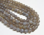 "7"" Gemstone STRAND -  Agate Beads - 8mm Rounds - Disco Faceted Brown Gray (7"" strand - 22 beads) - str179"