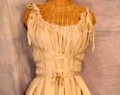 Corset Tunic Top Tan Shirt Blouse Tea Dyed Fairytale Ren Faire Pirate Ready Made Tattered Renaissance Gretel Womens