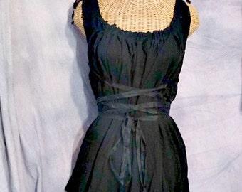 Little Black Cotton Dress Corset Ren Faire Short Corset Gauze Dark Gothic Custom Gretel Womens Halloween Costume