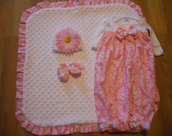 Boutique Gown Layette with matching Blanket headband and bow and it also has a crochet white beanie with flower Great set for bring home set