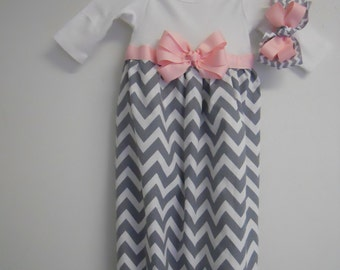Boutique Chevron Baby Layette soo Pretty great for coming home outfit look choice of color of ribbon