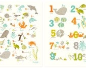 ABC 123 Ocean wall art set - Nursery art for children