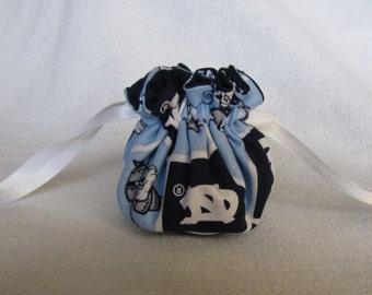 Jewelry Bag - Mini Size - College Team Jewelry Bag - Jewelry Tote - Drawstring Bag - UNC TAR HEELS