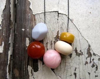 vintage bead necklace, vintage lucite. blush