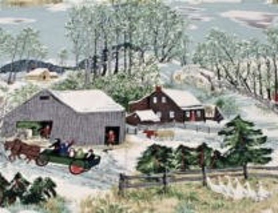"Grandma Moses Vintage Barkcloth Piece ""Early Springtime On The Farm"" 41x32 Inches"