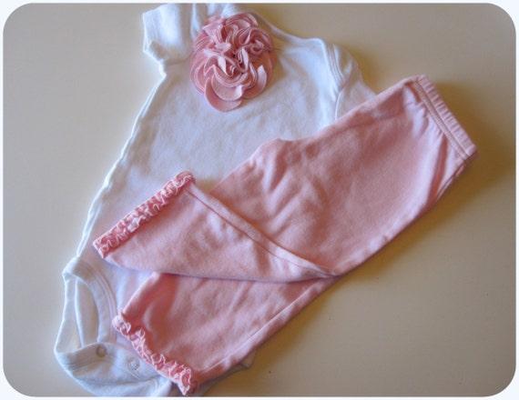 Baby Girl Onesie, Ruffle Pants, 6-12 Months, Sale, Pink Embellished