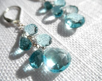 Swiss blue topaz and london blue topaz earrings - silver earrings - V I D A 171