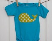 SALE // Baby Clothes // Bright Aqua Bodysuit with a Limey Dot Whale // Size 12-18 months // Polka Dot Whale Bodysuit // Unisex