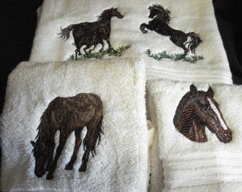 Bath Towel set  - FREE SHIPPING - machine embroidered with design of your choice