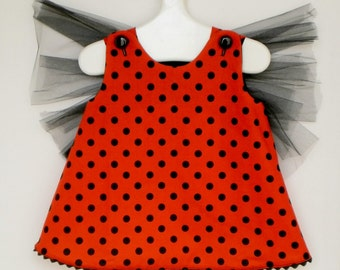 Baby and Toddler Lady Bug Costume, Bloomers and Floral Headband - 3 piece set