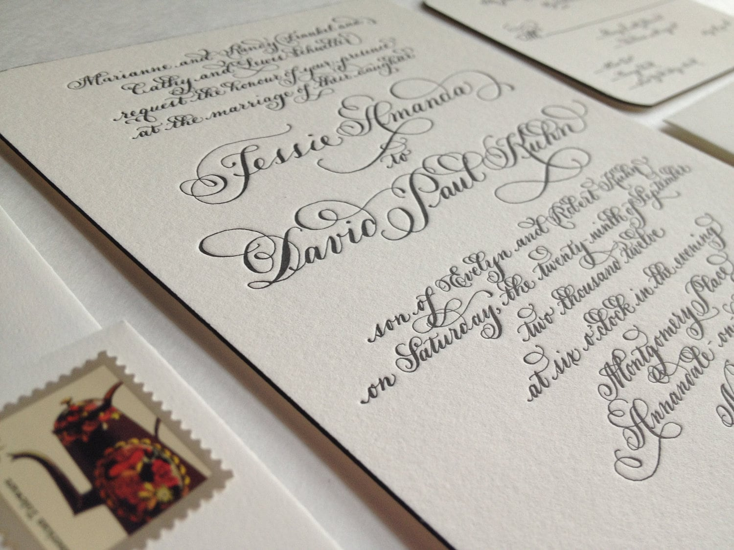 Letterpress Wedding Invitation Hand Calligraphy On Duplex