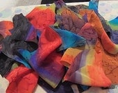 HANDPAINTED SILK scraps for crafts and sewing, quilts, jewelry