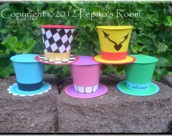 Print-INK Alice In Wonderland Top Hat Set (5) - Party Hat Favors - DIY Color Digital Printable PDF