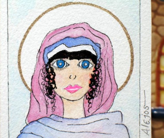 ACEO UniQUe HaiL MaRy PrAyEr CaRd double sided original