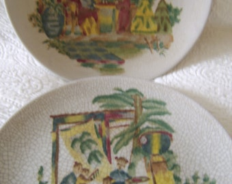 Large Hand Painted Oriental Display  Plates Set of 2
