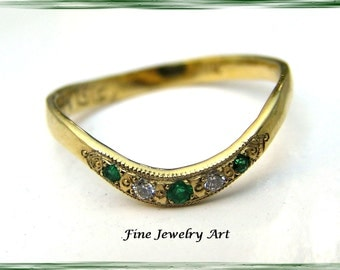 Petite Solid 18k  Gold Curved Emerald &  Diamond Handmade Ring - Timeless Feminine Design  5 Inset Genuine Gemstones - Wedding or Right Hand