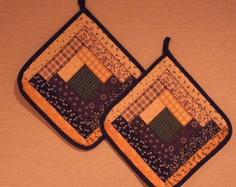 Log Cabin Quilted Pot Holders