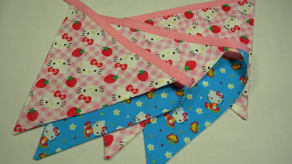 Free US Shipping/Hello Kitty Fabric Banner/Fabric Banner/Fabric Flags/Photo Prop/Birthday Banner/Bunting/Party Banner/Fabric Pennant