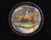 Reverse Painted Horse Rider Pin Convex Glass 1920s Vintage