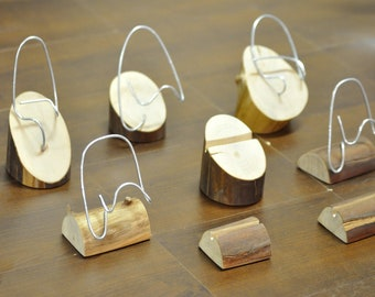 Unique business card, photo, or calendar holder - wire and wood