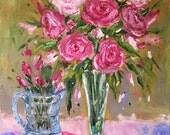 Original Pink ROSES shabby chic Still Life oil painting Personalized Custom11x14 by J Beaudet