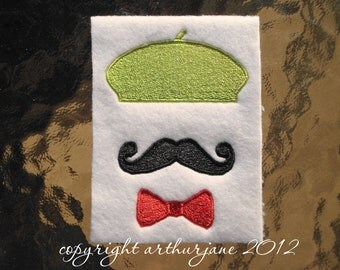 Beret, INSTANT DIGITAL DOWNLOAD, Mustache Embroidery Design for Machine Embroidery 4x4