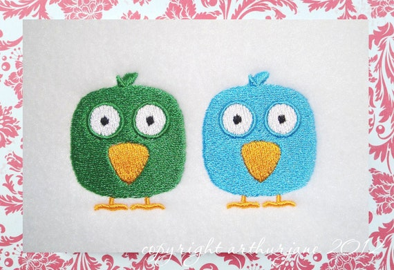 Two Birds, INSTANT DIGITAL DOWNLOAD, Embroidery Design for Machine Embroidery 4x4