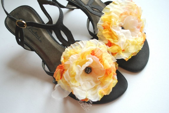 Fresh juice-Yellow orange-Set of 2 organza flowers-Weddings Accessories Hair Shoe clips-Brooches,hair clips,combs-Bridal,bridesmaids.