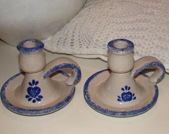 Set of 2 Vintage Hermitage Pottery Spongeware Design Finger Candle Holders