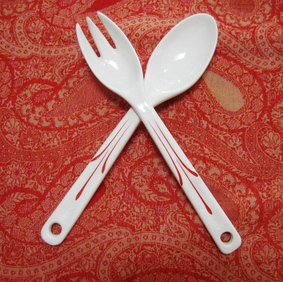Vintage Porcelain Salad Servers Spoon and Fork Red Orange White Country Kitchen 1920s