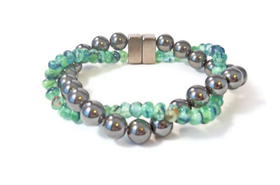 Magnetic Hematite and Seafoam Czech Glass Bracelet, Holistic Health, Arthritis Jewelry