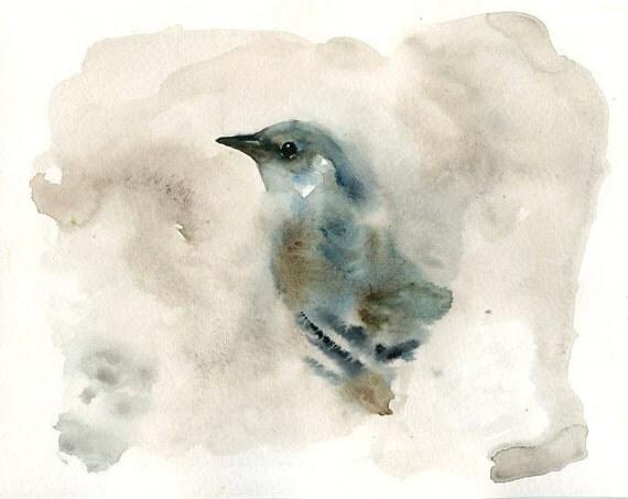 MOCKINGBIRD by DIMDI Original watercolor painting 10x8inch