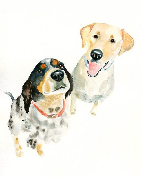 CUSTOM of your favorite couple OF PETS Original watercolor painting 8x10inchxxxxAll the animals that you wantxxxx