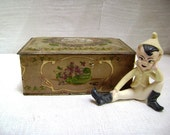 REDUCED Vintage Metal Candy Tin Louis Sherry of New York, Hinged Lid Storage Violets, Old and Chippy, Jewelry Box, Trinket Box, Sewing Box
