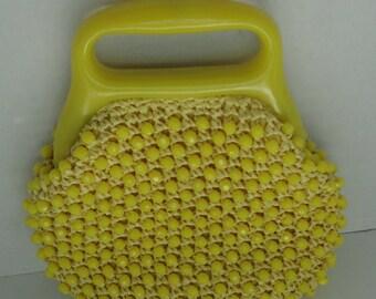 Yellow Rafia Beaded Handbag