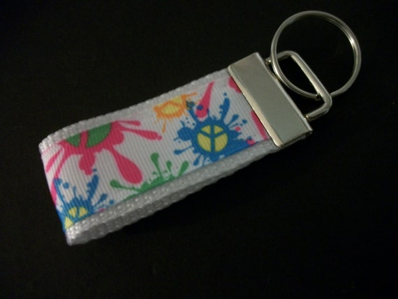 Mini Key Fob Neon Colors Peace Sign Paint by preciouscurls ...