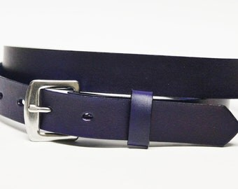 Navy Blue Leather Skinny Belt Handcrafted One Inch Slim Leather Belt